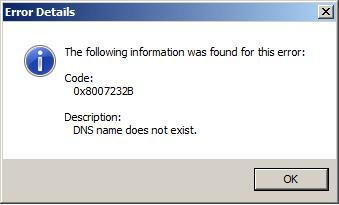 Activation Error - 0x8007232B - DNS name does not exist