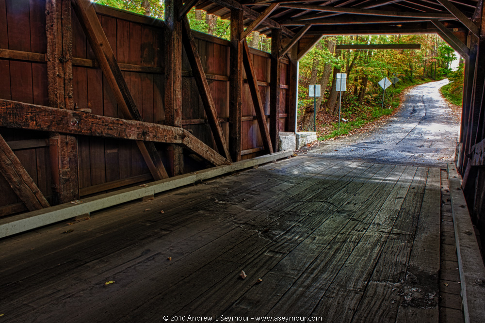 Burn marks on floor - Glen Hope Covered Bridge (1889)