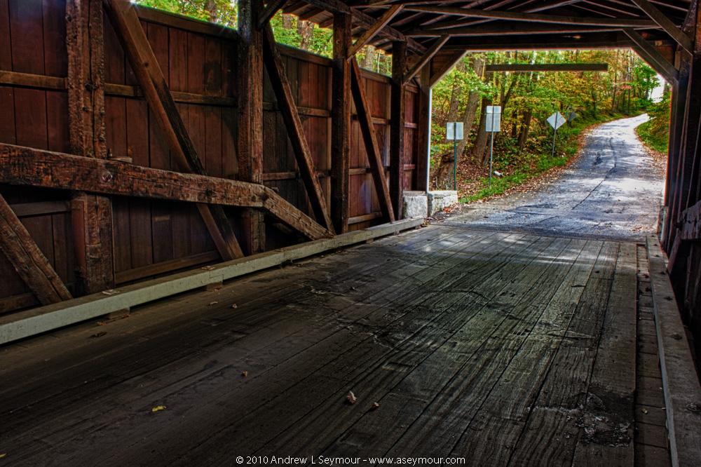Burn marks on floor - Glen Hope Covered Bridge (1889)
