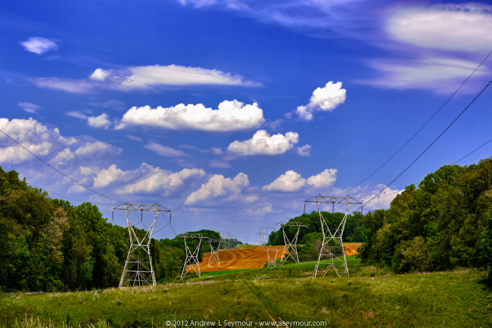 Plowed fields and Power Lines in ChesLen Preserve in Coatesville, Chester County