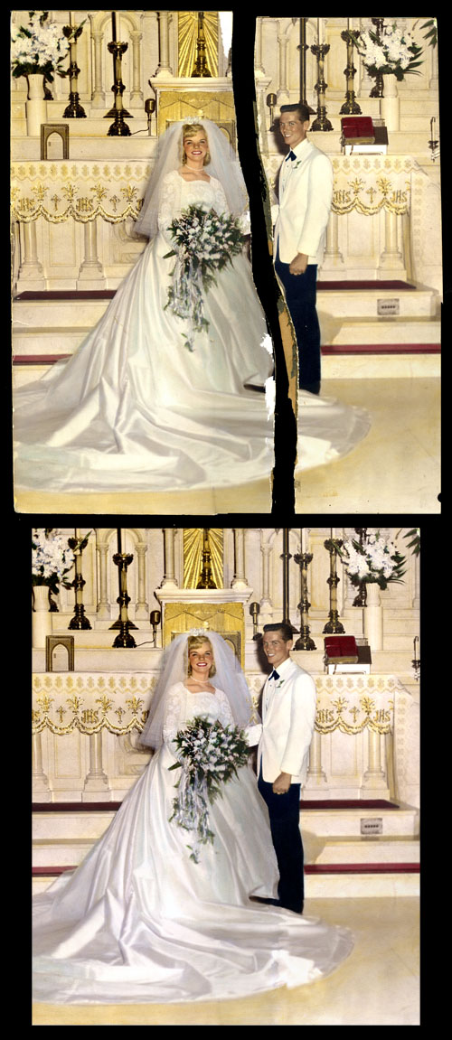 Torn Wedding Photo restoration (circa 1960s)