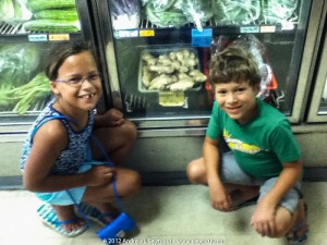 Madison and Logan looking at ginger