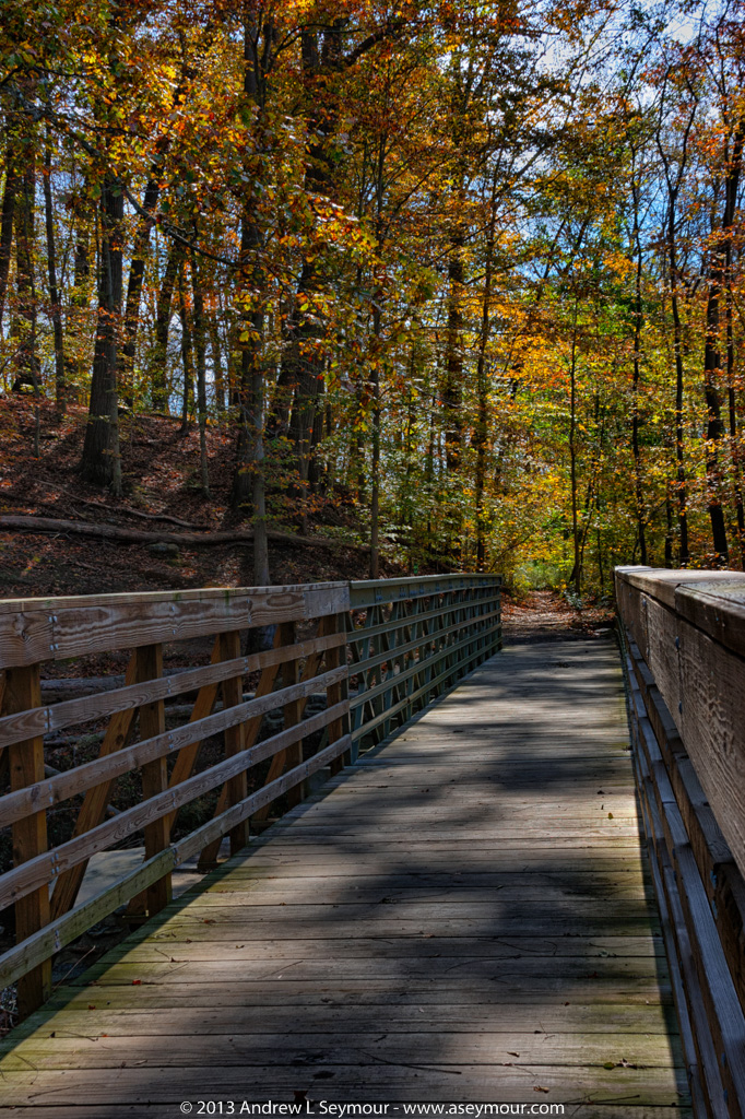 Bridge across North Penndel Trail, looking into Delaware, in White Clay Creek Preserve of Chester County, PA.