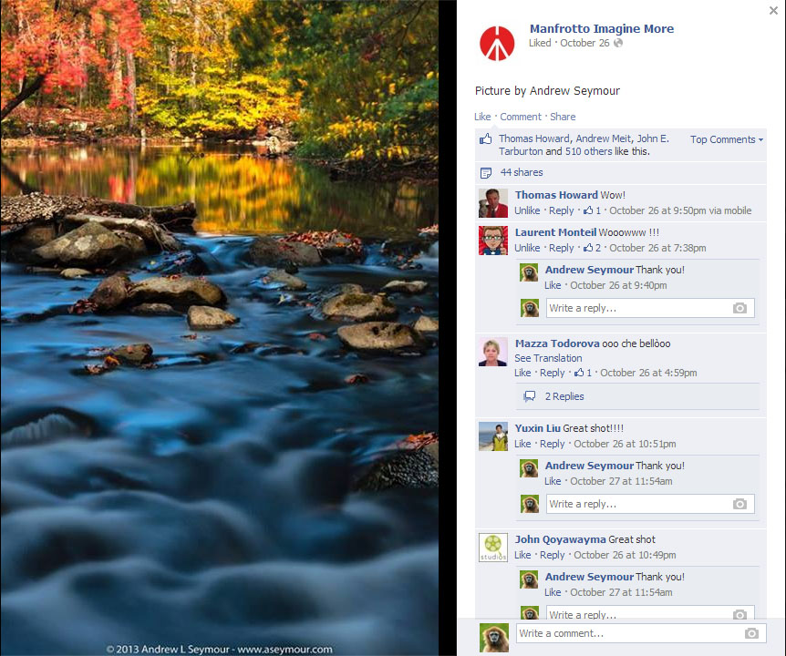 Featured on Manfrotto - Facebook and Google+