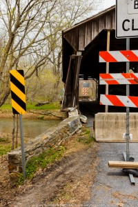 Truck damage to Speakman #1 covered bridge in Chester County PA.
