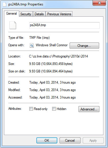 10.6 GB Adobe TMP file
